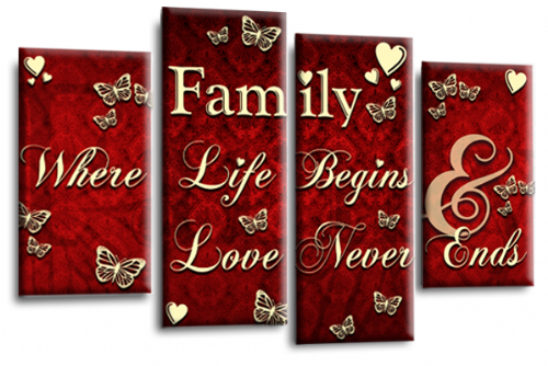 Family Quote Canvas Wall Art Picture Print Red Cream Grey